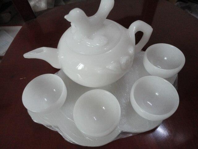 عرض خاص الشحن اليشم المجوهرات الحلي الشاي مجموعة الشاي الشاي كأس النبيذ-في التماثيل والمنحوتات من المنزل والحديقة على  مجموعة 1