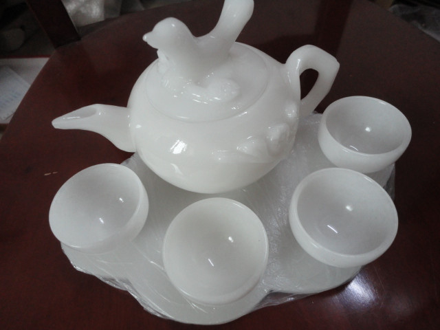OFERTA ESPECIAL envío jade joyería adornos té vino set té taza de té-in Estatuas y esculturas from Hogar y Mascotas    1