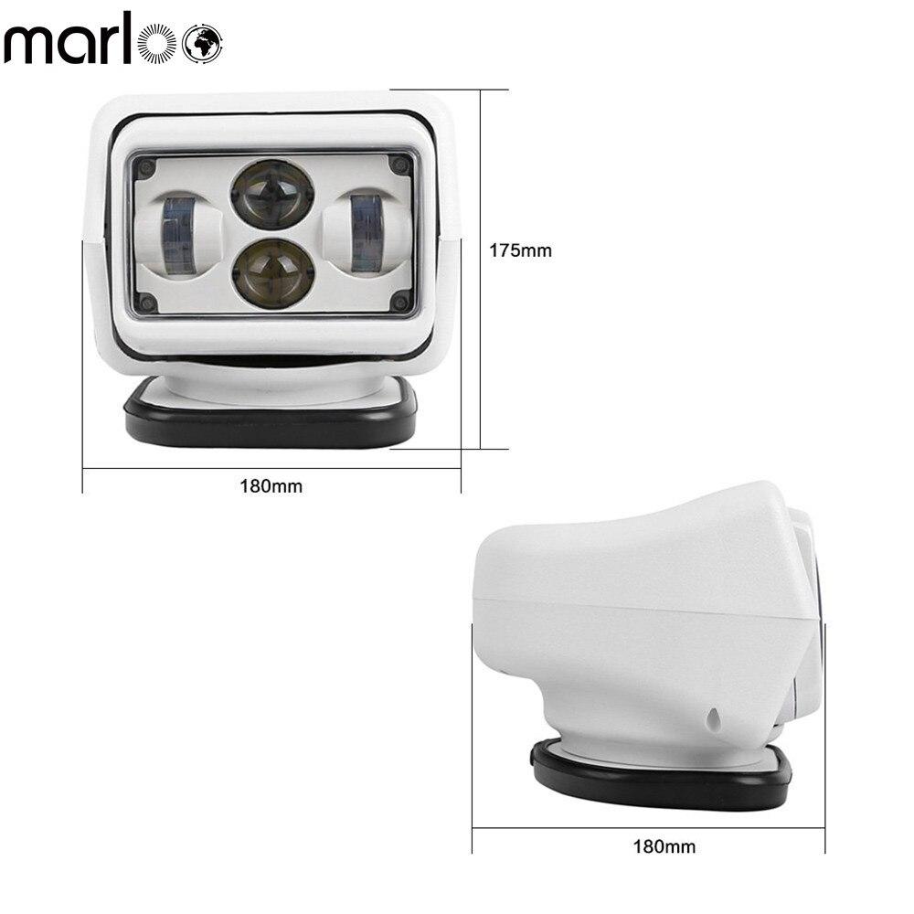 Marloo 50 W/60 W DC 12 V 24 V LED Projecteur Sans Fil Télécommande Spotlight Base Magnétique pour voiture Bateau Véhicules (blanc)