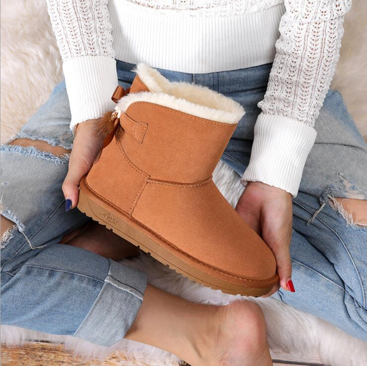 Image 3 - Snow Boots Women Shoes Woman Boots Winter Boots Fox Fur Pendant Fashion 2019 Winter New Snow Boots Non slip Warm Breathable X29-in Ankle Boots from Shoes