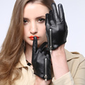 2017 new summer autumn Christmas gift women sex pole dancing time model zipper supple nappa leather driving gloves mittens