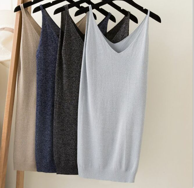 Summer Women Fashion Slim Knitting Long   Tank     Tops   Female Camisole Sleeveless Tee shirts With Shinning Rayon Knitted ZY0382