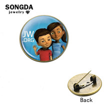 SONGDA JW.org Charm Brooch Pin Jehovah's Witnesses Art Picture Glass Cabochon Lapel Pins Blue Round Gem Shirt Collar Pin Jewelry(China)