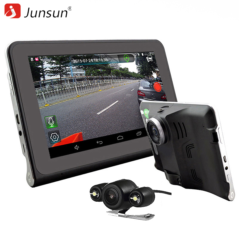 Junsun 7Capacitive Car DVR Camera Video Recorder Android 4.4 GPS Navigation WIFI FM Truck gps sat nav 16GB Map Free Update quidux car dvr vehicle gps wifi android navigation 8g 512mb wifi auto video camera recorder with europe us russia map
