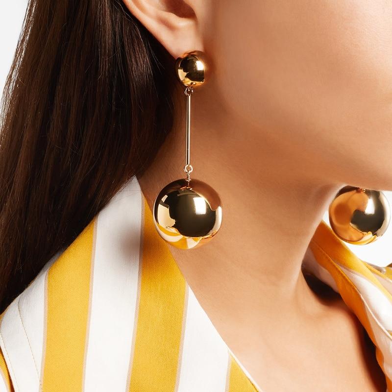 Punk Style Big Metal Gold Large Beads Ball Earrings For Women Long Hanging Dangle Drop Earrings Fashion Party Jewelry
