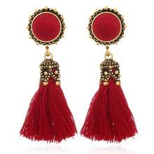Bohemian Tassel Crystal Long Earrings Round Lace Drop Dangle For Women 2019 Jewelry