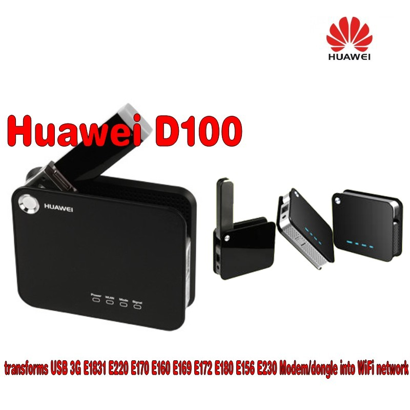 US $38 0 |BLACK UNLOCKED Huawei D100 Mobile Broadband WiFi Router+Huawei  E156g 3G wireless network card,support for HSDPA 7 2M-in 3G/4G Routers from