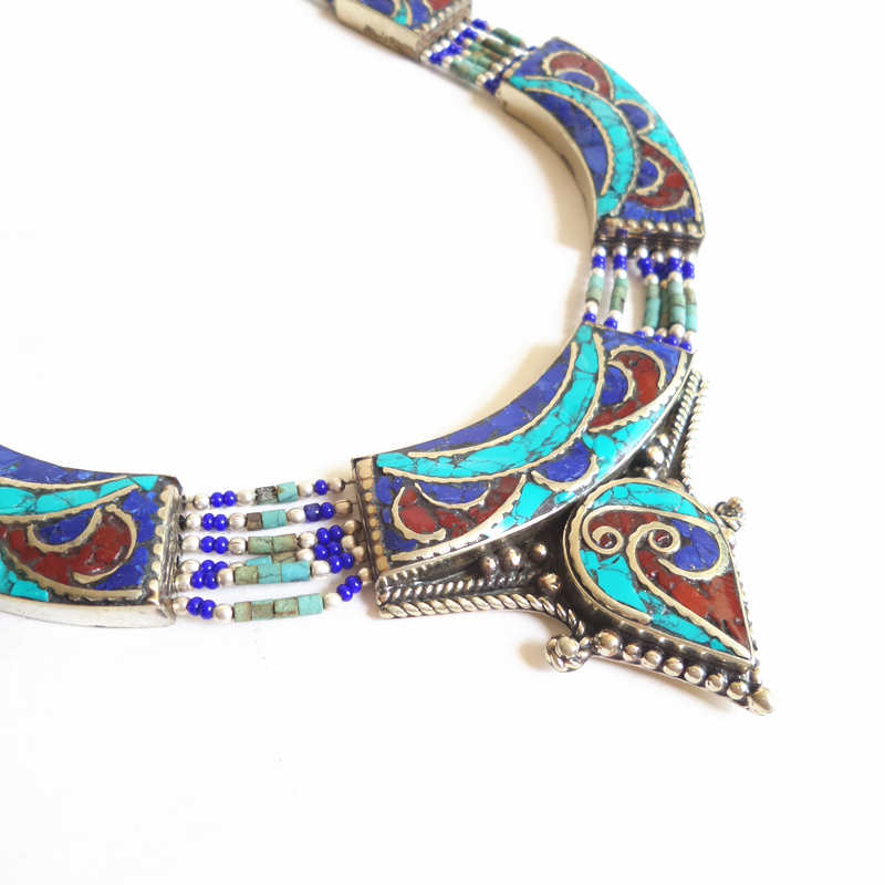 TNL591 Master Design Charming Nepal Indian Copper inlaid Stone Big Pendant Necklace Free ship