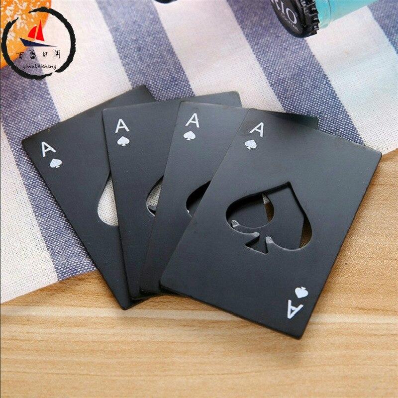 Rvs Bier wijn Flesopener Zwart/Zilver Poker Card Spades Gepersonaliseerde Flesopener Bar Tool keuken gereedschap