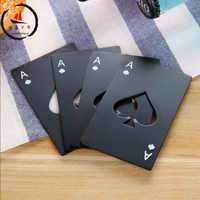 Stainless Steel Beer wine Bottle Opener Black/Silver Poker Card Spades Personalized Bottle Opener Bar Tool kitchen tools