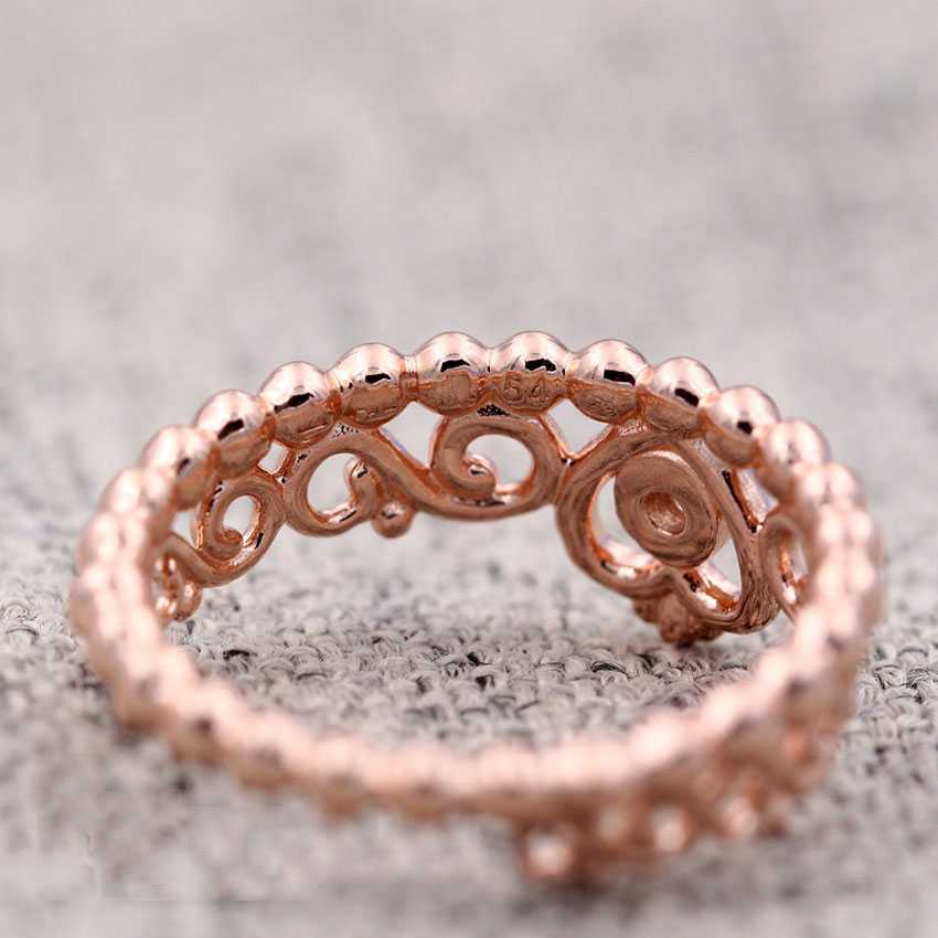 S925 Sterling Silver Rose Gold Color Ring for Women My Princess Tiara Ring Crown Clear CZ For Women Wedding fit Lady Jewelry