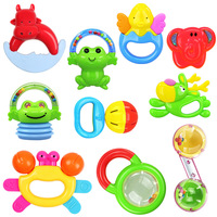 10pcs/set Rattle Puzzle Toys Baby Bottle Rattles Mobiles&teether Infant Teething Toys Suitable For 0 24 Months Educational Gift
