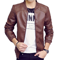 Men Fashion Design Hot Sales  Leather Jacket Solid Slim Fit Male Outwear Stand Collar Autumn Spring Wear Coat Casual Clothing