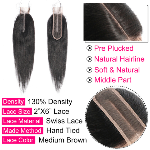"""Bling Hair 2*6 Brazilian Straight Hair Closure with Baby Hair Middle Part Remy Human Hair Closure Swiss Lace Natural Color 8-22"""" Lahore"""