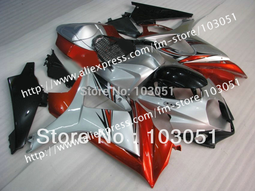 7 gifts body kit for SUZUKI GSXR 1000 2007 fairing GSXR 1000 fairings 2008 fairing K7 07 08 glossy light red silver sy33