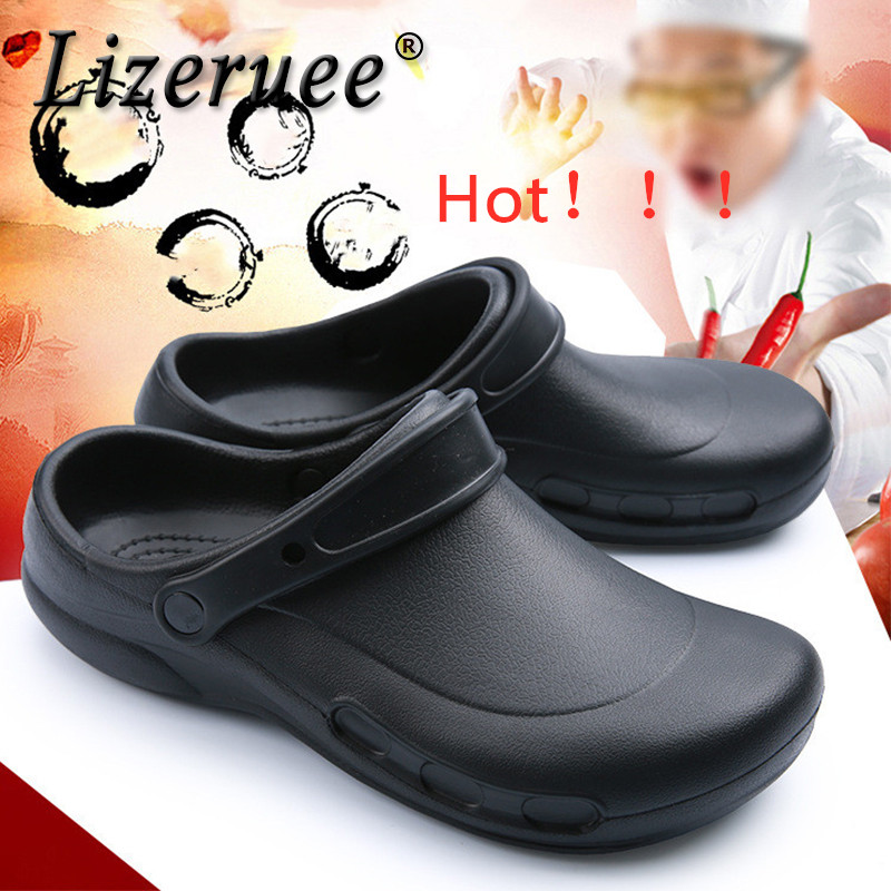 Lizeruee Men EVA Sandals Men's Chef Kitchen Working Shoes Super Anti-slip Anti-oil Summer Breathable Hotel Cook Work Slippers