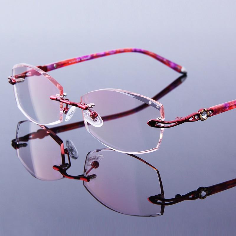 Randlose Rot Hyperopie Presbyopie Rahmen Frauen Linsen Lesebrille Brillen Strass Optische Weibliche Frau Gläser Getönt rtO0rqwY