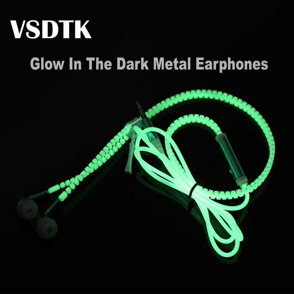 VSDTK Glow In The Dark metalowe słuchawki słuchawki douszne z mikrofonem świecące zamek błyskawiczny lekki słuchawki stereo dla wszystkich smartfonów MP3