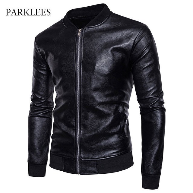 e56b25df0 US $43.18 |Classic Leather Jacket Men Winter Casual Zipper Male Leather  Jacket Veste Cuir Homme College Mens Baseball PU Leather Jacket 2XL-in  Jackets ...