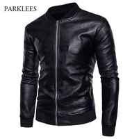 Classic Leather Jacket Men Winter Casual Zipper Male Leather Jacket Veste Cuir Homme College Mens Baseball PU Leather Jacket 2XL
