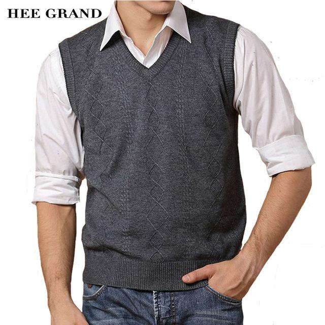 Hee grand new chegada magro ocasional dos homens camisola de decote em v sem mangas colete mzb024 pullovers moda de alta qualidade por atacado