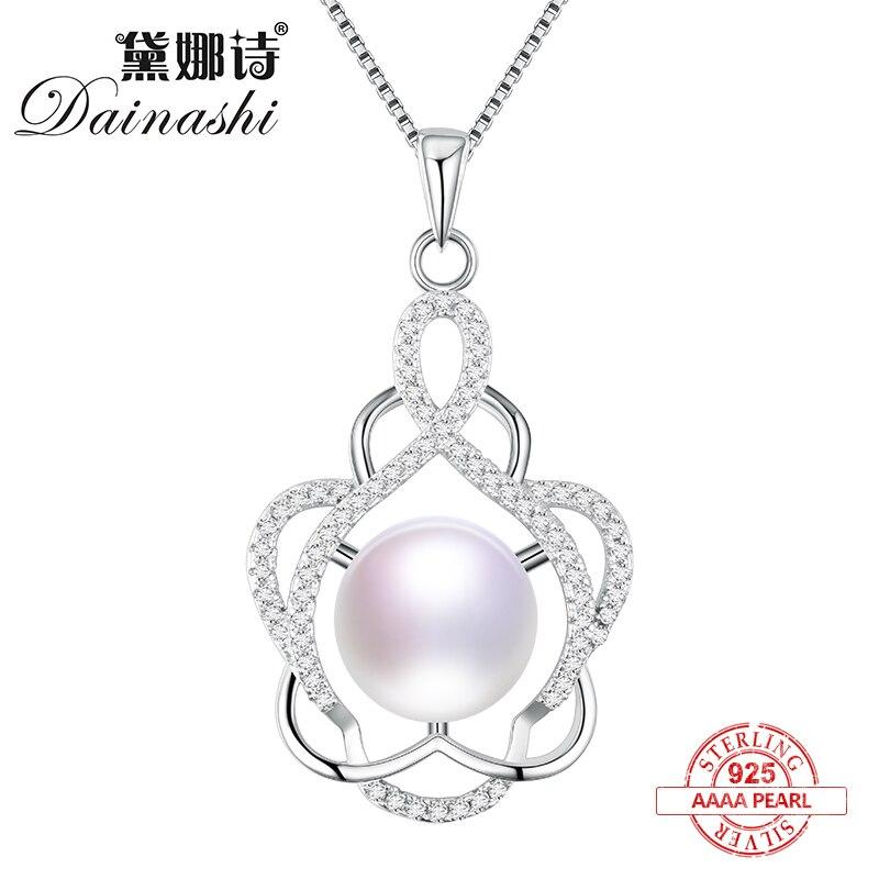 Dainashi 925 mincovní stříbro skutečná perla přívěsek jemné šperky Lesklý květ ušlechtilý perlový náhrdelník na párty nebo svatbu