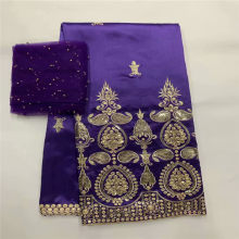 Hot Sale! Design African George Lace Fabric Indian George Wrappers High Quality Embroider Purple Sequins African Silk Fabrics(China)