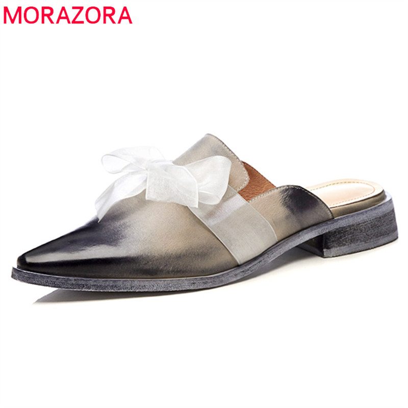 MORAZORA 2018 new women sandals pointed toe summer shoes genuine leather party wedding shoes comfortable low heel mules shoes pointed toe women low heel work shoes girls sweet strappy dress shoes ladies heel shoes femal comfortable wedding shoes h264