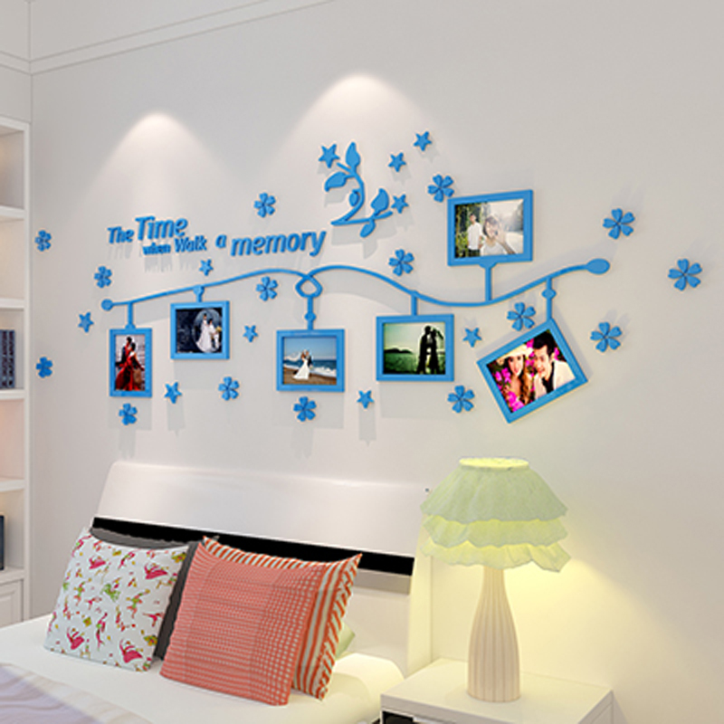 Photo Frame And Flower Design Acrylic 3d Wall Stickers Diy Stickers