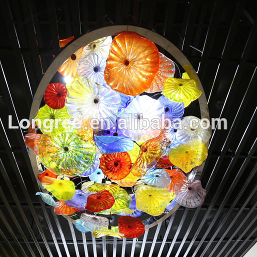 Wholesale Price Art Decor Hand Blown Glass Plated Murano Glass Wall Decor Plates in LED Indoor Wall Lamps from Lights Lighting