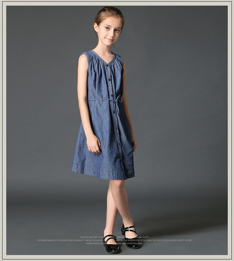baby girl clothes 2018 summer New toddle and big girls loose sleeveless denim dress