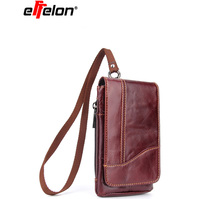 New Genuine Leather Vintage Travel Cell Mobile Phone Belt Pouch Purse Waist Bag For IPhone 8