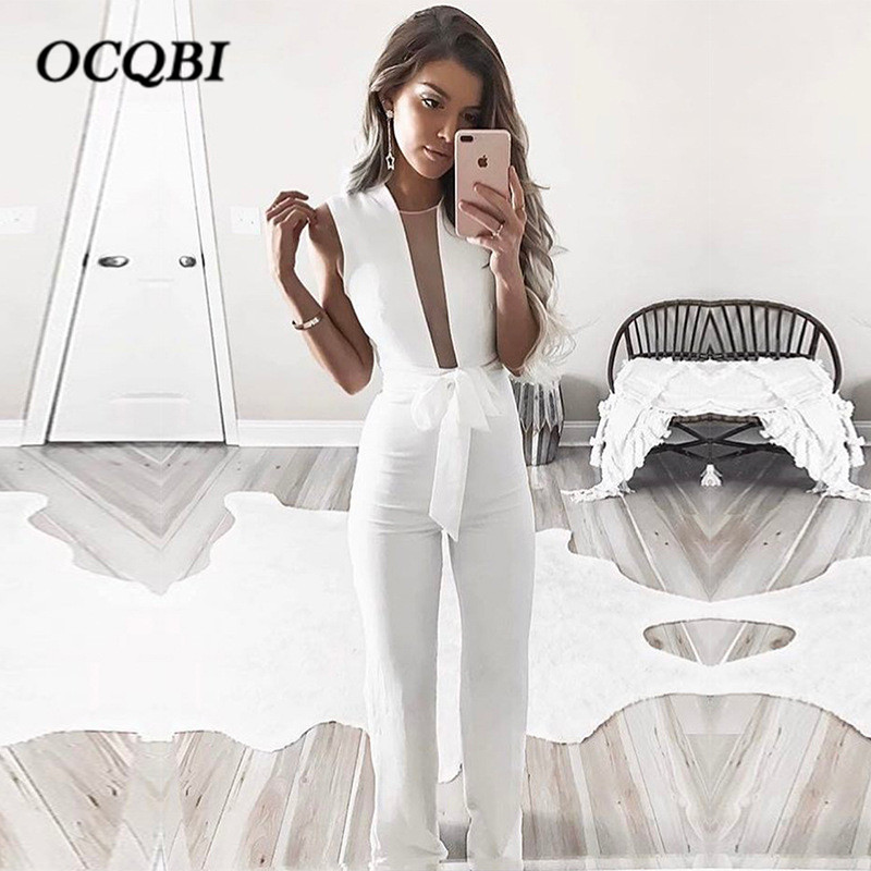 Plus Size 2018 Casual Hot Sexy Fashion Rompers Womens Jumpsuit Summer OL Mesh Jumpsuit outfits para playa mujer 2019