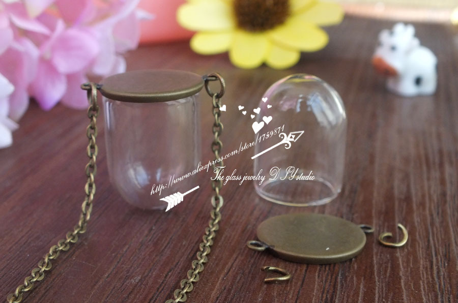 25x18mm DIY Glass Cloche Dome Globe Necklace kit Clear Pendant Bronze Terrarium Bottle Upside Down Apothecary Jewelry Supplies