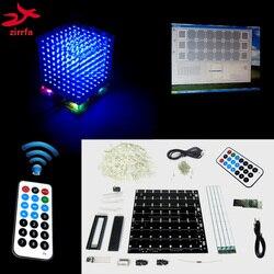 Presente de Natal 3D zirrfa cubeeds 8 s mini Luz remoto com Efeitos de animação/3D8 8x8x8 LEVOU Espectro Música, kit diy eletrônico