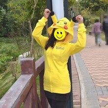 Animado Japón Anime Cool Pokemon Pikachu Con Capucha abrigos de color sólido Casual Con Capucha Ropa Cosplay Disfraces Amarillo para las mujeres y los niños