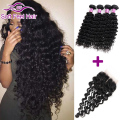 Peruvian Virgin Hair Deep Wave 4 Bundles With Closure Peruvian Deep Curly Closure And Bundles Deep Curly Human Hair With Closure