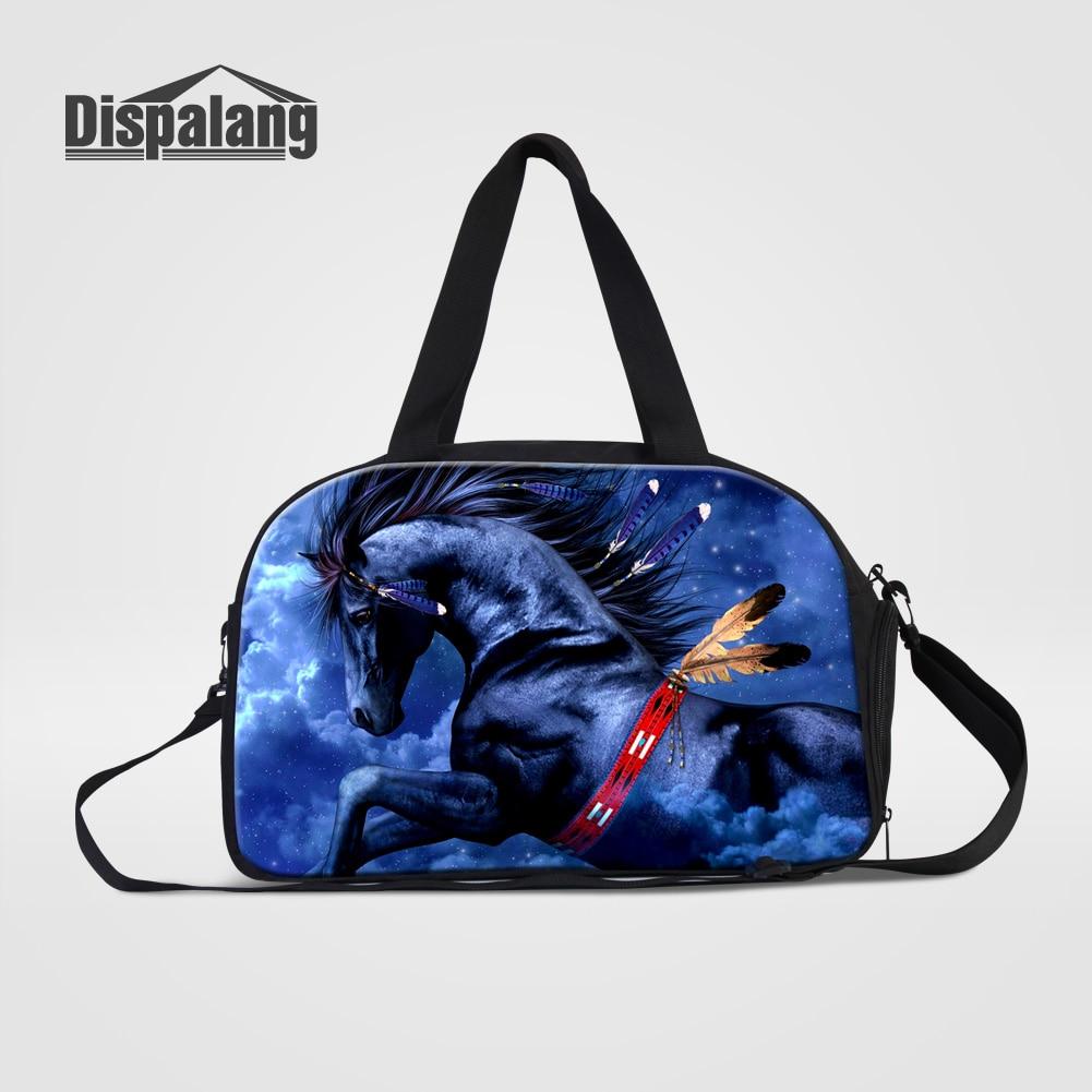 Dispalang Unisex Travel Luggage Handbags High Quality Canvas Travel Bags Cool Horse Printing Mens Duffle Bag Packing Organizers