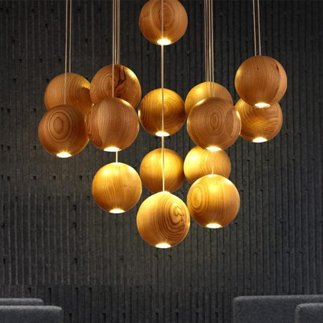 Moderne Houten Lamp Hout Kroonluchter Bal Led Licht Boom Lampen ...