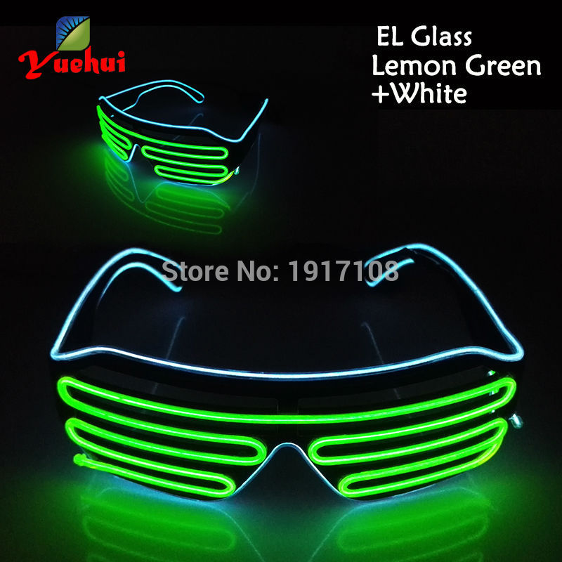2017 Fashion 17 Style Twin Color Sound active Party decor EL Shutter Glasses flickering LED Neon Glasses For Wedding Decoration