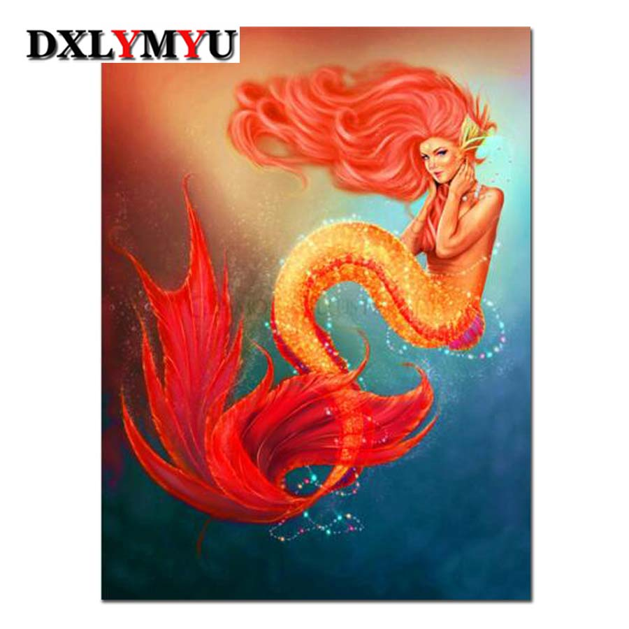 Diamond Embroidery DIY Needlework Red gold mermaid Pattern Diamond Painting Cross Stitch 3D 5D Rhinestones Decor Paintings in Diamond Painting Cross Stitch from Home Garden