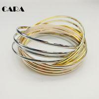 CARA 12 Pcs Set 3 Color High Quality Zinc Alloy Gold Silver Rose Gold Bangle Women