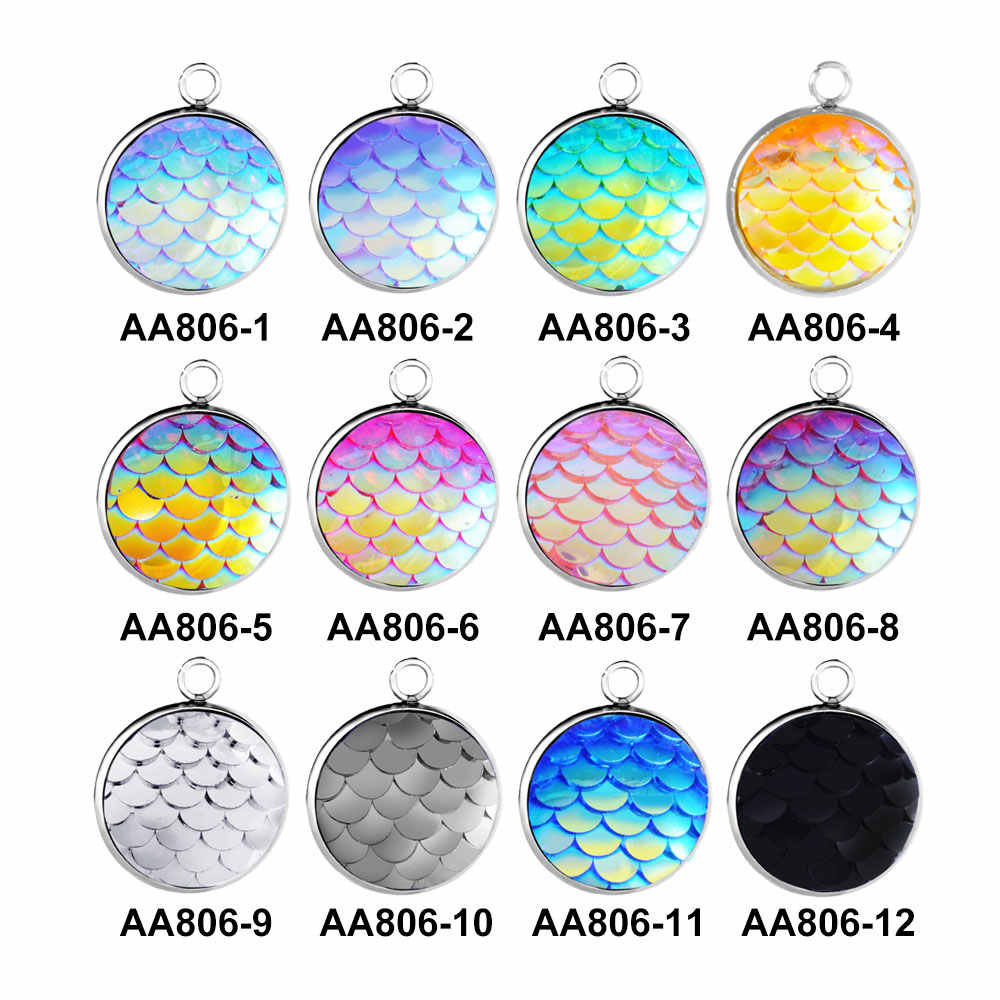 30pcs/lot GRACE MOMENTS Stainless Steel Charms Colorful 12mm Mermaid Scale Pendant DIY Necklace Jewelry Making Resin Accessories