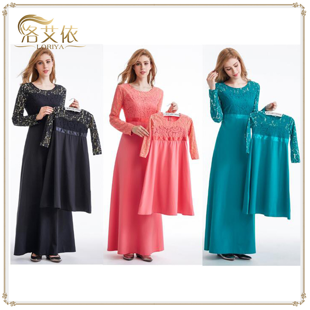 dae1768b37e9e Family Matching Clothes Mother Girl Muslim Dresses Wedding Outfits ...