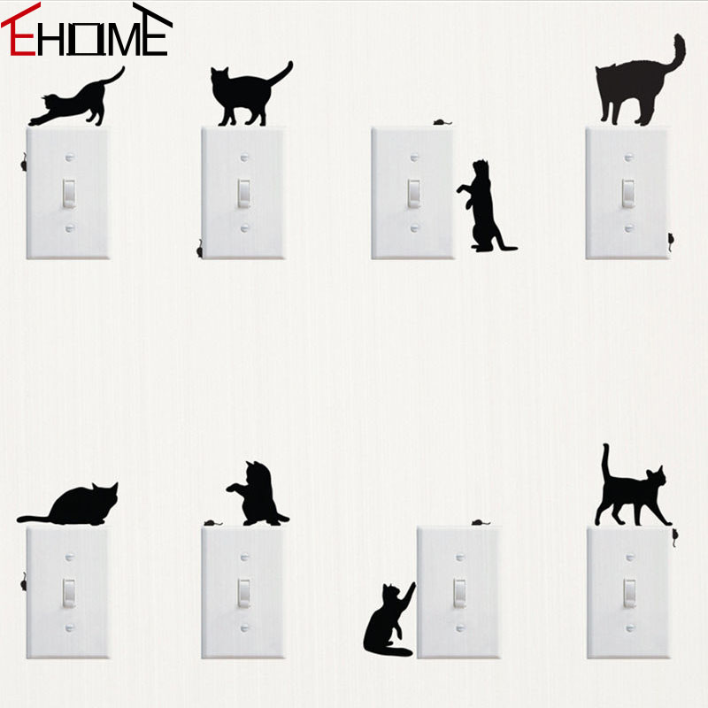 Playing Cats And Mice Switch Stickers Adhesive Vinyl Decals Bedroom Living Room Wall Decor Creative Animals