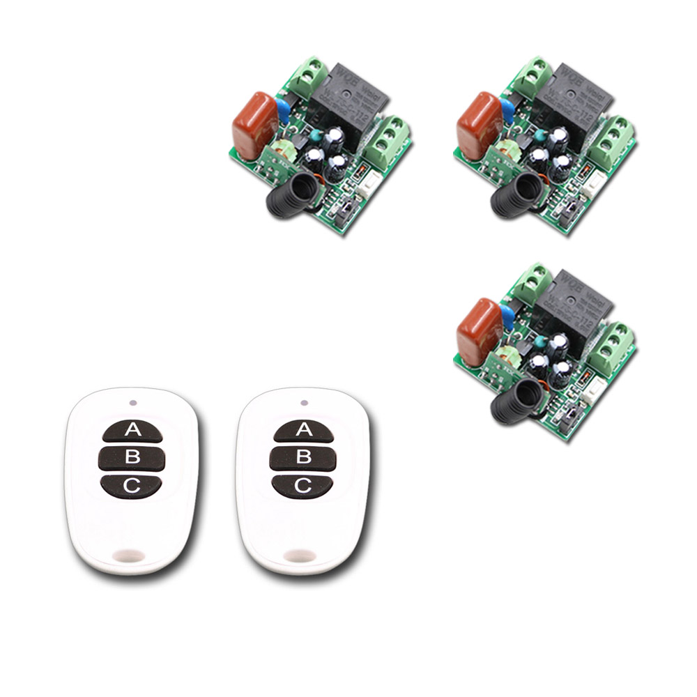 A B C key White and Black Mini Size RF Wireless Remote Control Switch System 2Transmitters &3Receivers 315/433mhz 2pcs receiver transmitters with 2 dual button remote control wireless remote control switch led light lamp remote on off system