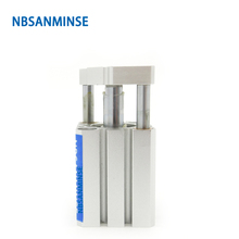 NBSANMINSE CDQMB 100mm Bore ISO Compact Cylinder Guide Rod Type Compressed Air Pneumatic Automation Application