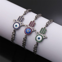 Dower Me Fashion Exquisite Palm Shape Evil Eye Bracelet Green Blue Red Zircon Black Gold Plated