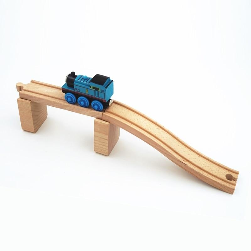 Wooden Railway Accessories Railroad Crossing Bridge Train Slot Track Toys DSUK
