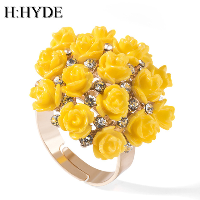 H:HYDE High Quality Hot Sale Blooming Enamel Flower Rings Bridal Engagement Ring